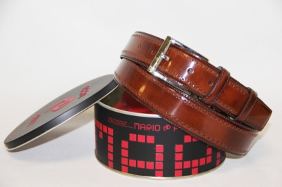 Коричневый мужской кожаный ремень Mario Pilli