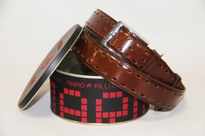 Глянцевый ремень Mario Pilli мужской коричневый