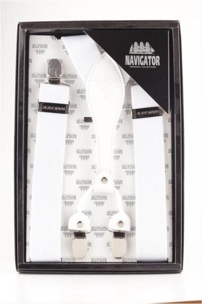 Подтяжки Навигатор из текстиля и натуральной кожи белые